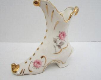 Dixon Art Studio 22k Gold Trim And White Porcelain Ladies Boot c.1980