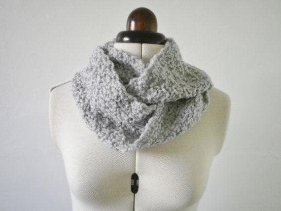 Grey cowl scarf , chunky knit infinity scarf