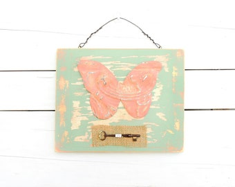 Butterfly Wall Art Antique Ceiling Tin Butterfly with Skeleton Key on Burlap - Coral Green Decor - 3D