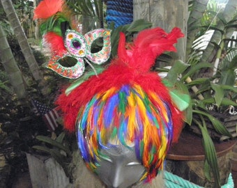 Showgirl Rainbow Feather Headband & Mini  Mask, Vegas, Mardi Gras, Burlesque, Circus, Costume, Drag queen, Halloween, Pride,Party