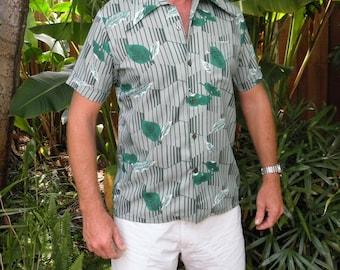Mr. Jan Men's Green Tropical Vintage Hawaiian Shirt, Made in California, size L, 100% Rayon