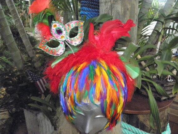 Showgirl Rainbow Feather Headband & Mini  Mask, Vegas, Mardi Gras, Burlesque, Circus, Costume, Drag queen, Halloween, Pride,Party
