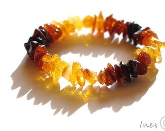 Baltic Amber Rainbow Baby Teething Bracelet or Anklet