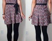 SALE Vintage DITSY FLORAL Grunge Mini Dress Buttons Scoop Back Extra Small Black