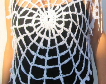 White Lace Crop Top, One Size Crop Top Women's Crochet Vest Summer Fashion Spiderweb Clothing Halloween Costume