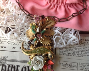 Layered Enamel Flower Gecko Rhinestone Chain Necklace Ooak
