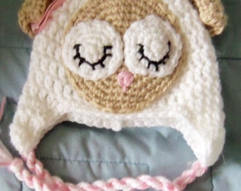 Crochet Hat, Baby Lamb Earflap Hat, Made to Order