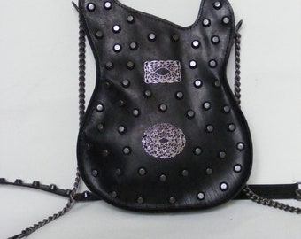 Leather purse. Black Handmade Eco Sustainable Leather Bag. Studded Guitar Shaped Bag. Strato Bag. MADE TO ORDER
