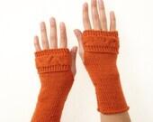 Orange Merino Wool Cable Knit Handwarmers
