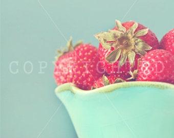 ripe strawberries color print, fruit, kitchen decor, home decor, fine art prints, red, strawberries, vintage