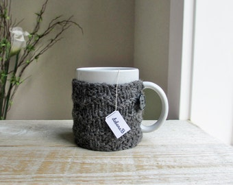 Coffee Cozy, Wool Coffee Sleeve, Knitted Cup Cozy, Reusable Coffee Mug Sleeve, Gift Under 25, Charcoal, Grey, Stocking Stuffer, Gift for Men