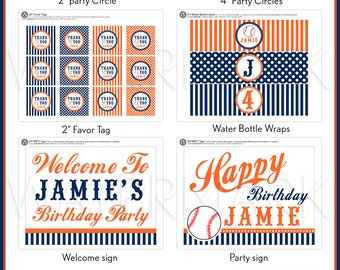 Sport Baseball Navy Orange Birthday Party Package Personalized FULL Collection Set  - PRINTABLE DIY - PS804CA2x