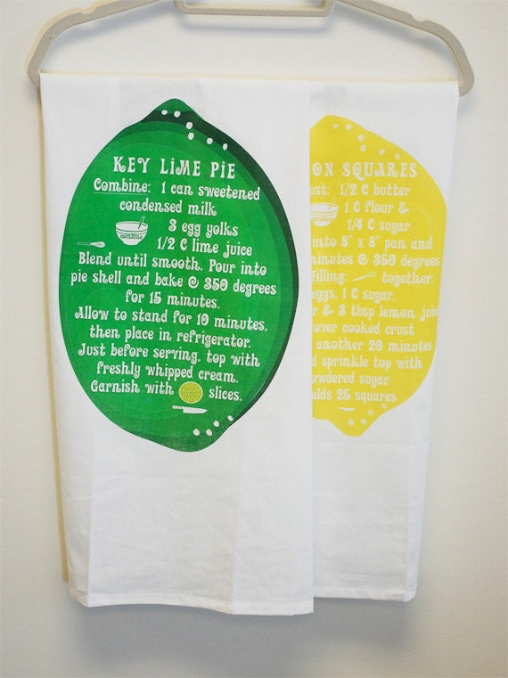 Lemon And Lime Recipe Dish Towels, Kitchen Flour Sack Towel Set