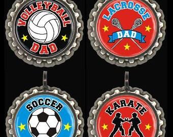 Sports Dad Keyring or Swivel Zipper Pull Soccer Karate Volleyball Basketball Golf Baseball Hockey