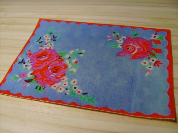 Dollhouse Miniature Cath Kidston Rose Rug, Scale One Inch