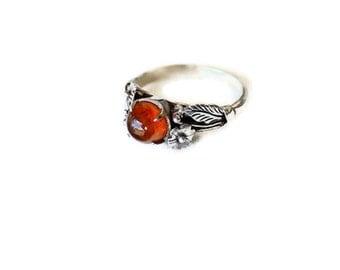 Vintage Amber & Sterling Silver Ring