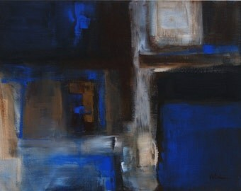"""Original Abstract Painting 'Through the Looking Glass' by Victoria Kloch, 16""""x20"""" Canvas board ultramarine blue, browns and white wall art"""