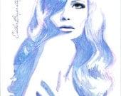 Indigo Blue Watercolor & Ink Painting Fine Art Print