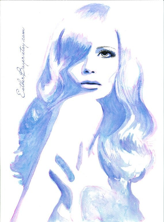 Indigo blue watercolor amp ink painting fine art print
