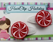Peppermint Candy Hair barrettes, Peppermint stick, Candy Cane