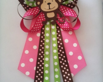 Monkey girl baby shower pin/corsage