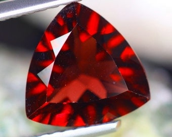 50% off SALE! Cherry Red Natural Garnet Trillion Millenium Cut Loose Faceted Gemstone, 2.31 carats, for Jewelry Making, Collectible,