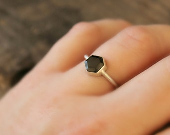"Geometric ring Hexagon Black Spinel gemstone Sterling Silver ring modern simple clean style black and silver--""Hex"""