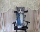 Sweet Antique Style Gray Tabby Kitty Cat by SReetz