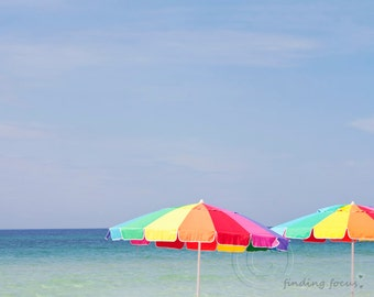 Beach Umbrellas Sea Sky Photography, Rainbow Red Orange Blue Yellow Green Summer Photo, Minimal Retro Seashore Whimsical Nursery Travel Art