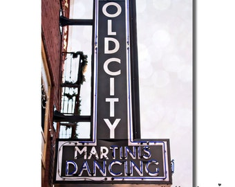 Martinis Dancing Neon Sign Photography, Bar Club Old City Knoxville, Retro Brick Bar Building Photo, 5x7 Whimsical New Years Eve Home Decor