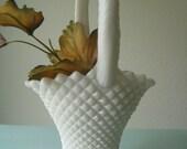 Beautiful Milk Glass Basket/ Vintage Milk Glass Vase / Milk Glass Collectible/ Fall Wedding Basket