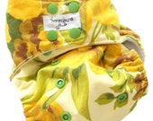 Earthy Floral One Size Pocket Cloth Diaper with Bamboo Microfiber insert