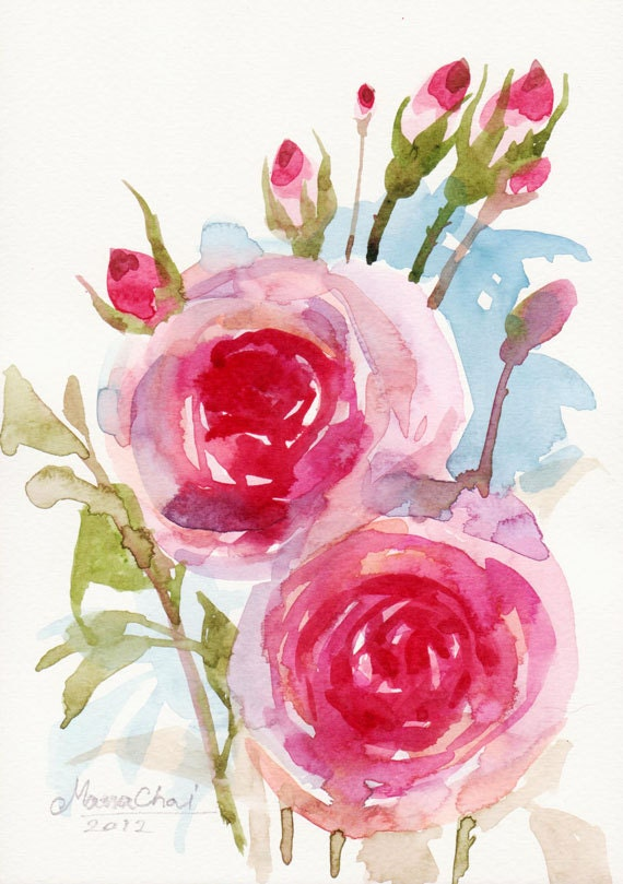 beautiful watercolor flower original art for sale on paper