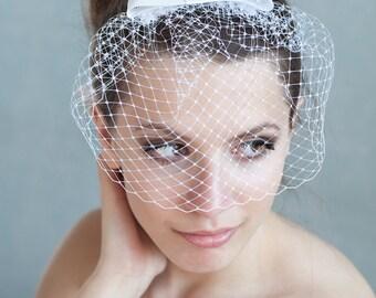 Birdcage veil with bow, bridesmaid birdcage, wedding birdcage veil Audrey Hepburn