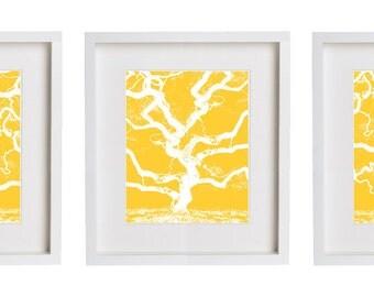 Gorgeous Yellow Tree Print Set of Three Prints Wall Art
