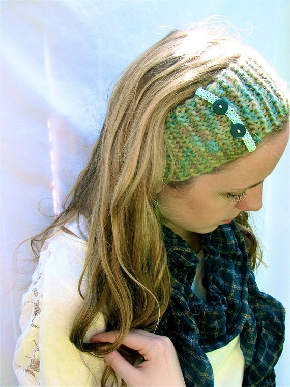 Turquoise and Lace Headband