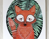Watercolor Painting - Fox Illustration Art - River Luna - Archival Print 5x7