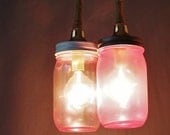 Mason Jar Duo Pendant Light, Pink Tinted Glass and Jute Wrapped Cord