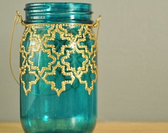 Outdoor Lighting- Mason Jar Lantern, Hand Painted Moroccan Design on Teal Glass with Gold Detailing