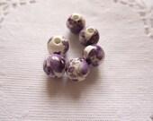 Siuc Supplies -  8mm Round Purple Floral Porcelain Beads 10pcs