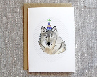 wolf birthday card etsy. Black Bedroom Furniture Sets. Home Design Ideas