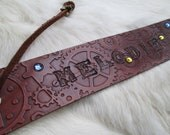 Leather Steampunk Bookmark Personalized with Name, Many Colors to Choose