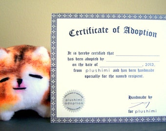 Add a Certificate of Adoption to Your Plush