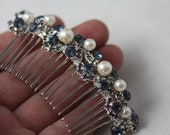 Something Blue Bridal Comb, Montana Blue Crystal Comb, Pearl Cluster Comb, Hair Accessories, 3 inch comb, long comb,