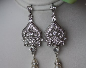 Alisar wedding chandelier drop Swarovski crystal and pearl  bridal earrings,gatsby jewelry