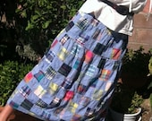 Patchwork Skirt, Chambray Cotton Skirt, Hippie Skirt, Peasant Skirt, Vintage Clothing M / L