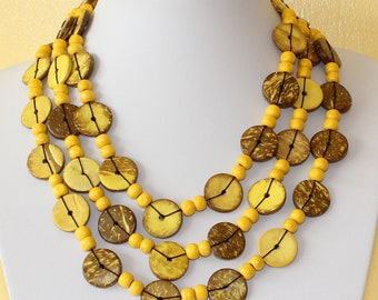 Ethnic Coconut Shell Necklace. Handmade. Extra Long Length Lariat. Colorful Coco Wood Beads. Yellow Color Necklace.  MapenziGems CN05
