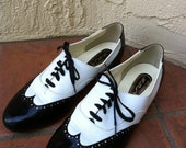 Black and White Vintage Ballroom Dance Shoes/ Oxfords