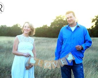 "Burlap ""LOVE"" Banner  Weddings, Babies, Engagement, Anniversary"