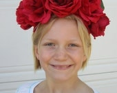 Custom Frida Inspired Floral Crowns, 5 Flower Headpieces Alice in Wonderland (Red Rose, Orange Lily, Pink, Purple, White)